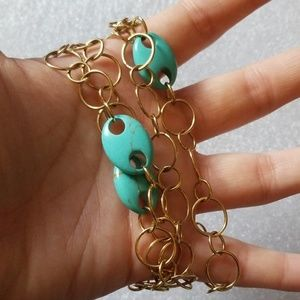 Faux Turquoise chain link necklace